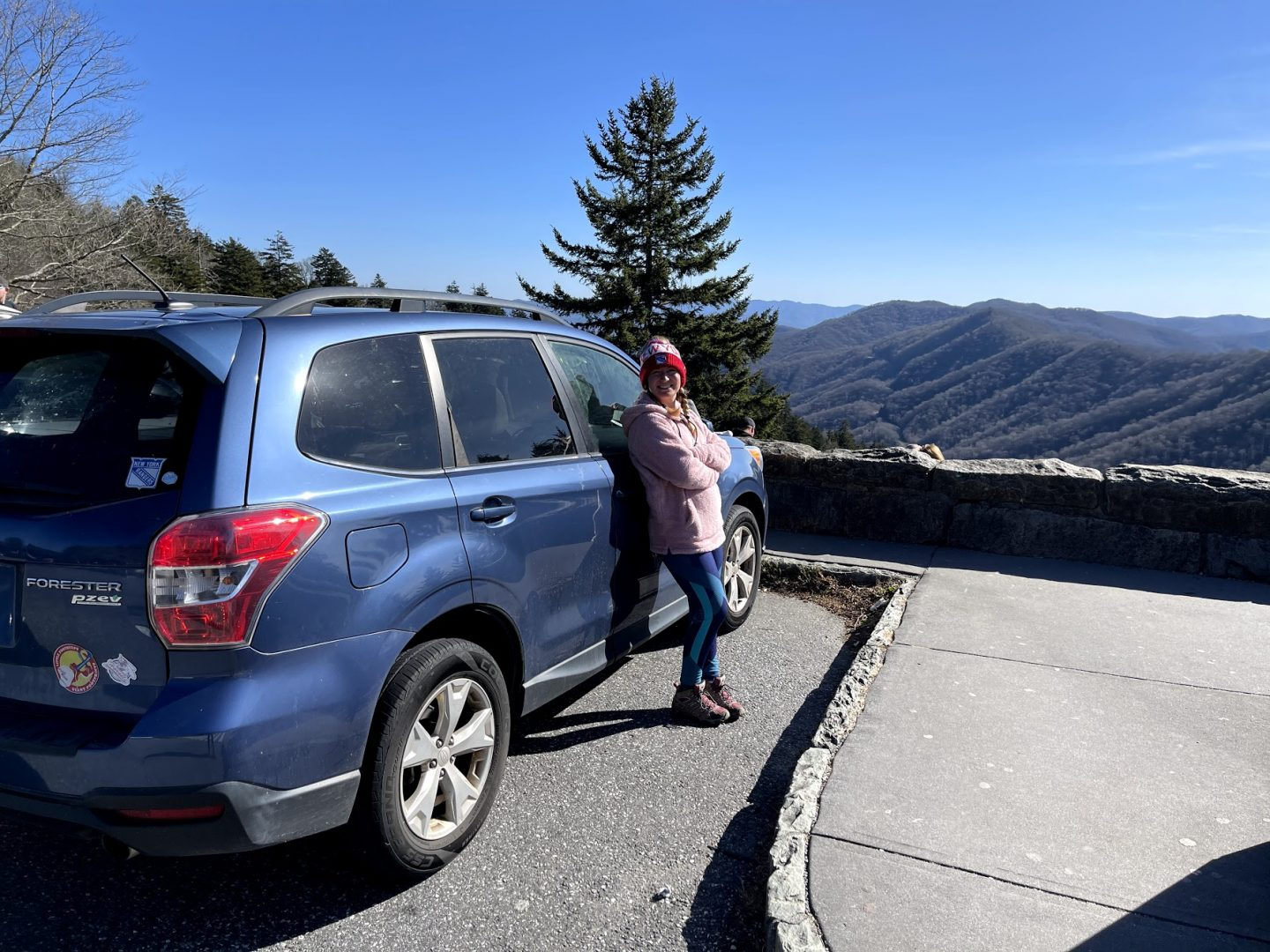 Road trip in my Subaru through the budget travel Smoky Mountains vacation